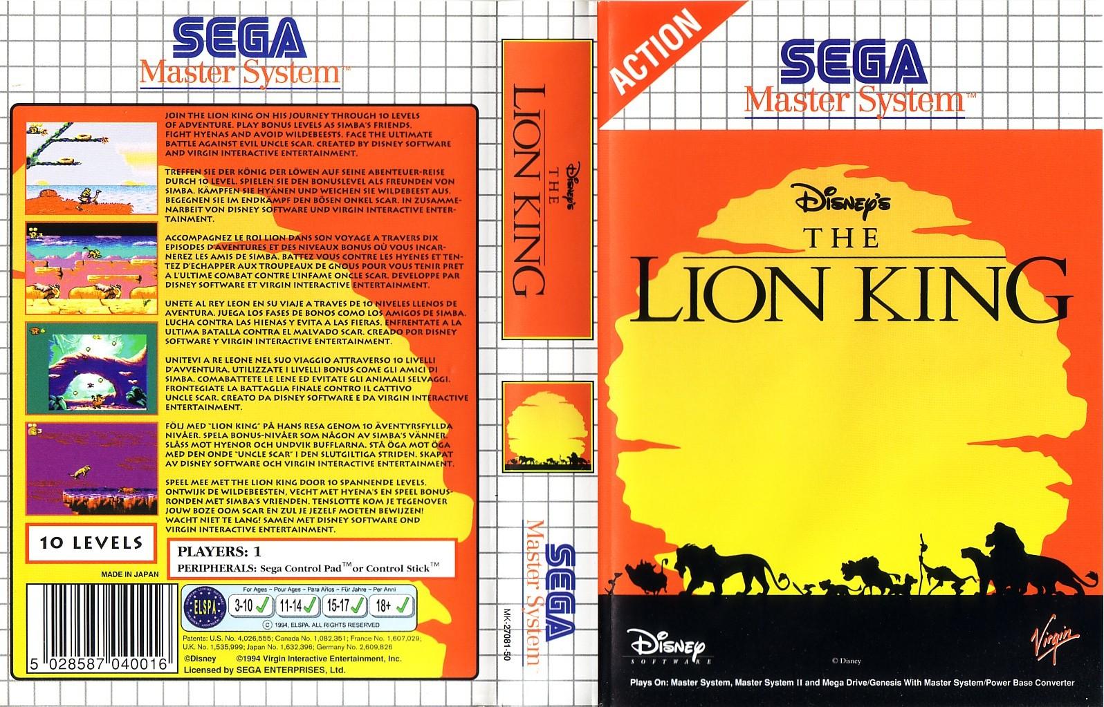 Lion king игры сега