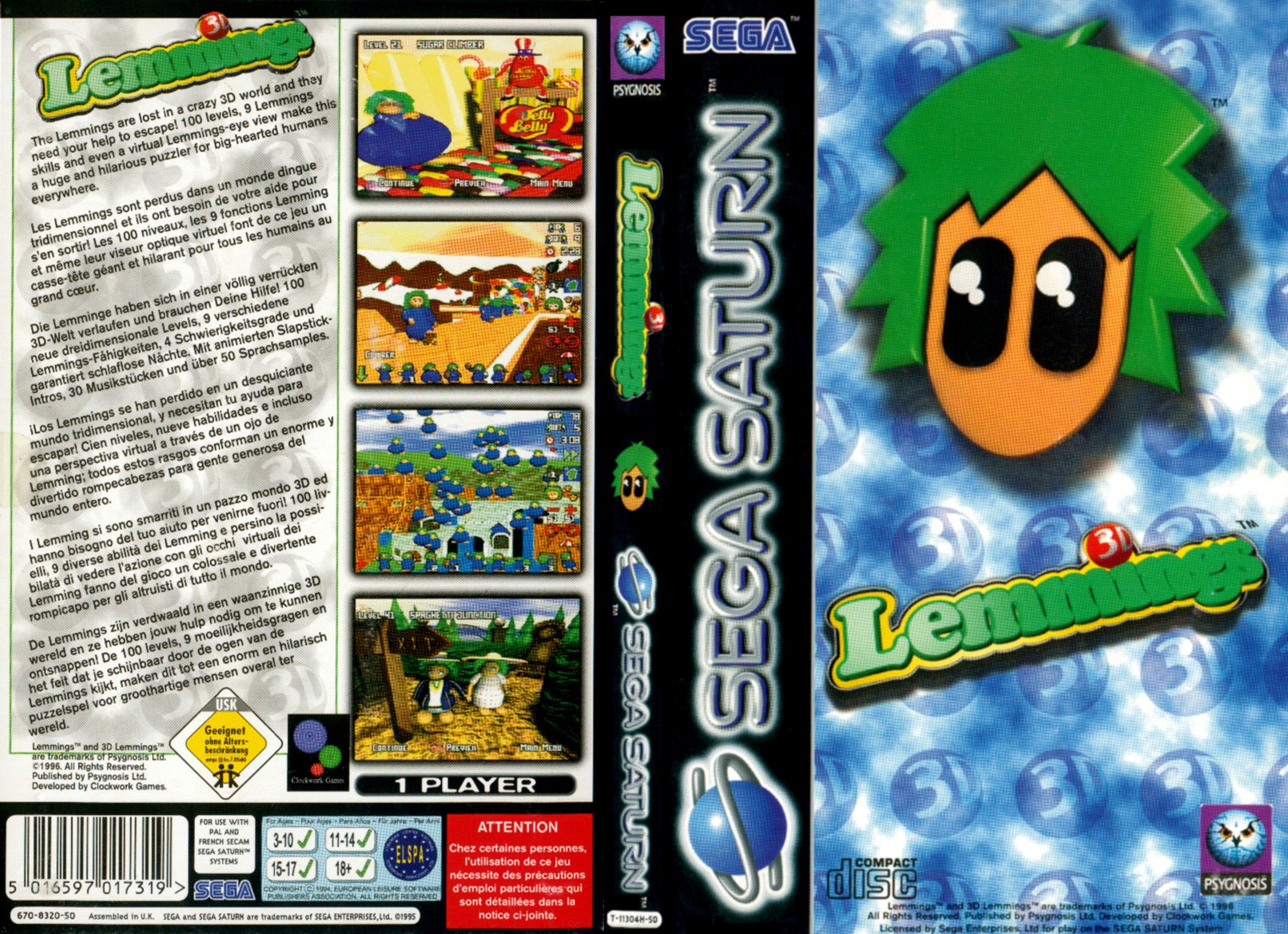 Sega Saturn 0 9 3D Lemmings E Game Covers Box Scans Box ...